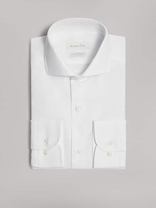 마시모두띠 Massimo Dutti PLAIN SLIM FIT COTTON SHIRT,WHITE