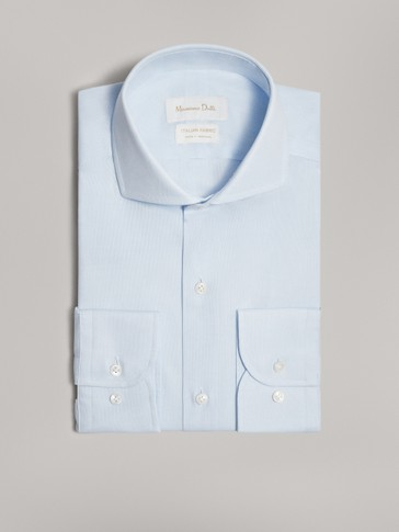 PLAIN SLIM FIT COTTON SHIRT