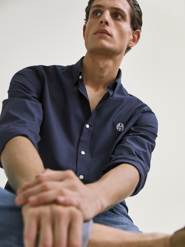 SLIM FIT TEXTURED COTTON SHIRT WITH LOGO