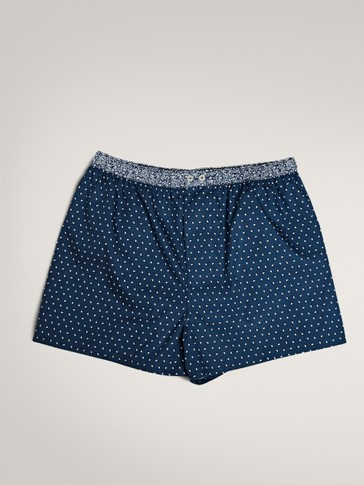 NAVY COTTON PRINT BOXERS