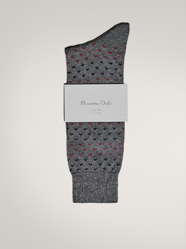 COTTON SOCKS WITH TWO-TONE PATTERN