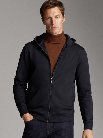 COTTON NAVY JACKET WITH HOOD