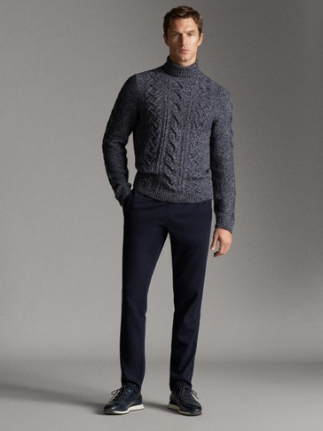 Casual fit navy trousers