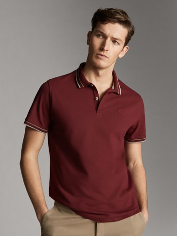 SHORT SLEEVE COTTON POLO SHIRT WITH STRIPE DETAIL