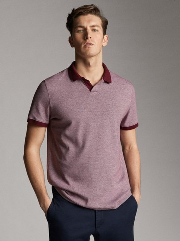 CONTRAST SHORT SLEEVE COTTON POLO SHIRT