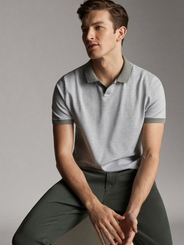 CONTRAST COTTON HEATHERED POLO SHIRT