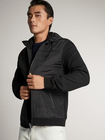 BLACK JACKET WITH CONTRAST HOOD