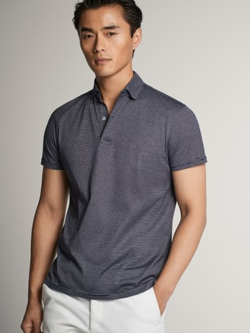 MICRO-STRIPED COTTON POLO SHIRT