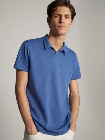 COTTON PIQUÉ HEATHERED SHORT SLEEVE POLO