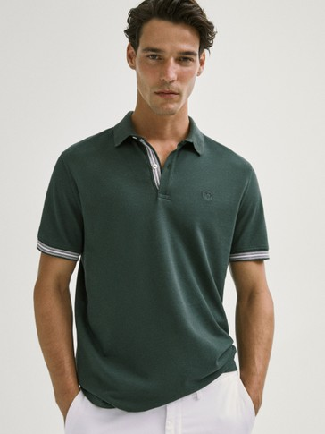 SHORT STRIPED SLEEVE COTTON POLO SHIRT