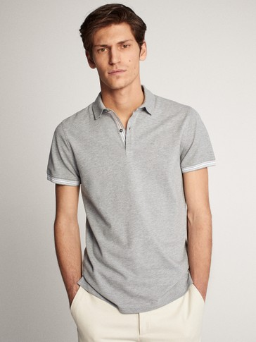 HEATHERED COTTON SHORT SLEEVE POLO
