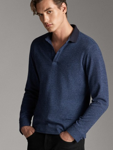 LONG SLEEVE COTTON TEXTURED POLO SHIRT