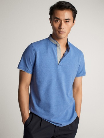 SHORT SLEEVE MARL POLO SHIRT WITH STAND-UP COLLAR