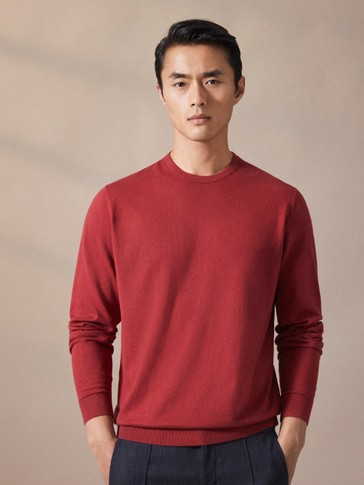CREW NECK COTTON, SILK AND WOOL SWEATER