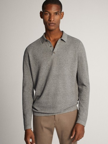 COTTON/SILK/CASHMERE POLO SWEATER