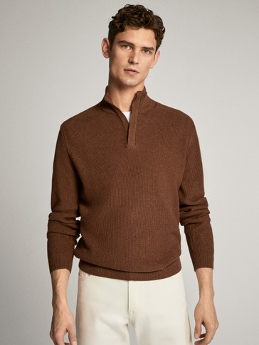 MOCK NECK SWEATER WITH LEATHER DETAIL