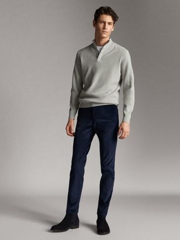 가죽 디테일 모크 넥 스웨터