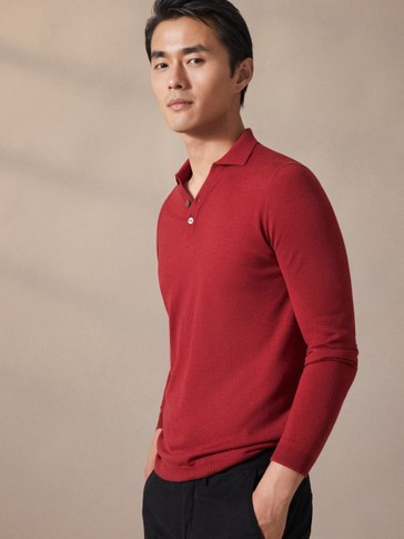 WOOL AND SILK TAILORED POLO-STYLE SWEATER