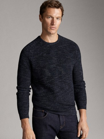 THREE-TONE COTTON KNIT SWEATER