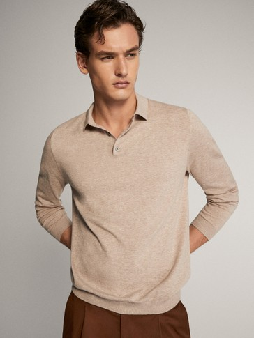 LONG SLEEVE COTTON POLO SWEATER