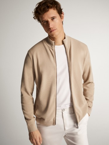 CARDIGAN WITH LEATHER DETAIL