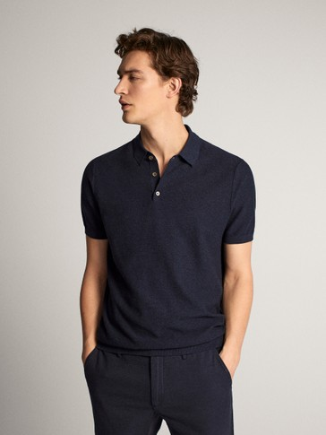 COTTON MOULINÉ POLO SWEATER