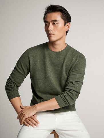 COTTON KNIT CREW NECK SWEATER