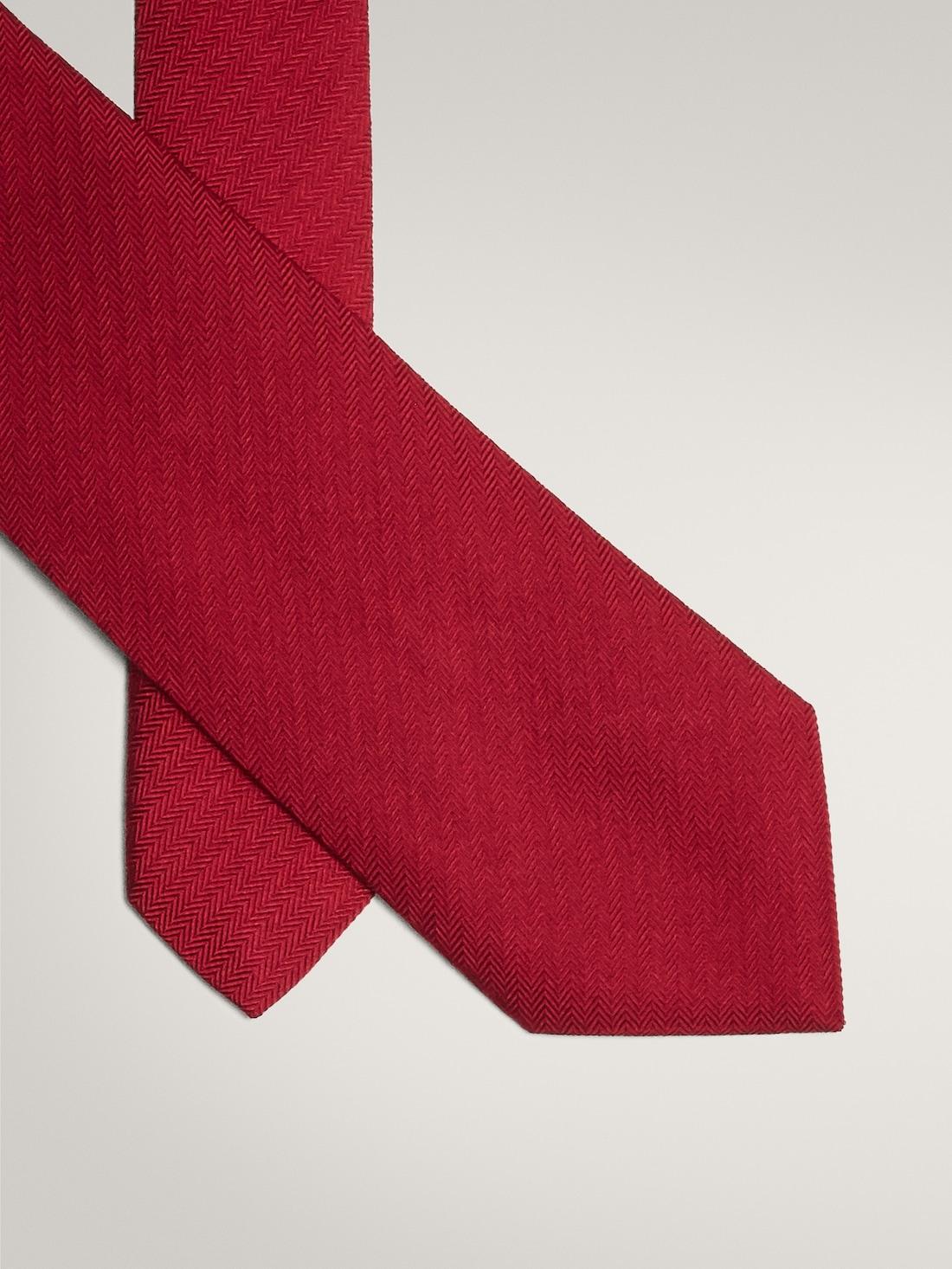 ГАЛСТУК ИЗ 100% ШЕЛКА С УЗОРОМ «ЕЛОЧКА» Красный Massimo Dutti