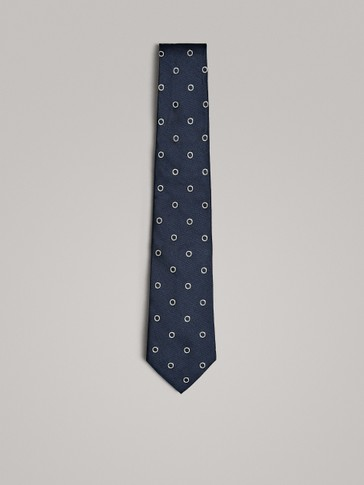 NAVY 100% SILK TIE WITH CIRCLE PRINT