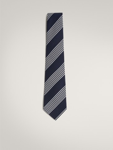 NAVY 100% SILK TIE WITH STRIPES