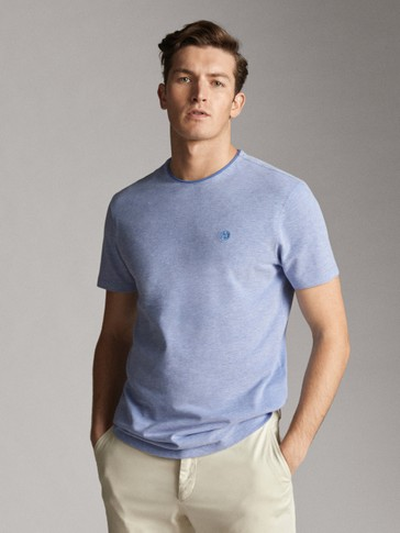 PIPED SEAM COLLAR COTTON T-SHIRT