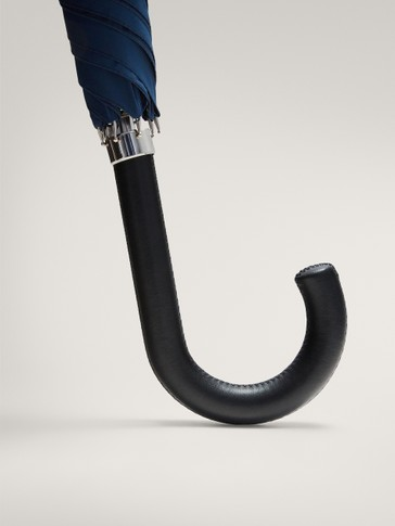 LONG NAVY UMBRELLA WITH LEATHER HANDLE
