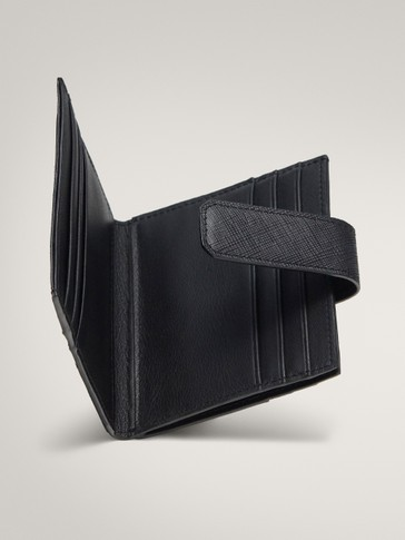BLACK SAFFIANO LEATHER CARD HOLDER WITH SNAP BUTTON