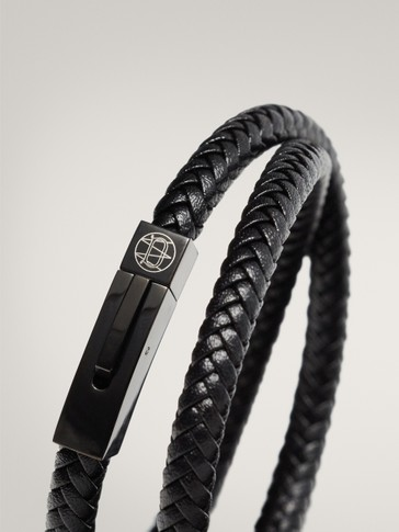 DOUBLE-LAYER TUBULAR BRAIDED LEATHER BRACELET