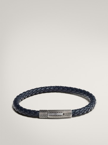 NAVY TUBULAR BRAIDED LEATHER BRACELET