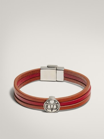 LEATHER BRACELET WITH LOGO