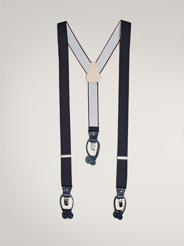 PLAIN NAVY BLUE AND BURGUNDY BRACES