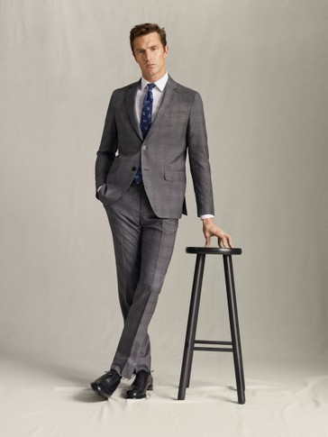 SLIM FIT 100% SUPER 120'S WOOL CHECK BLAZER