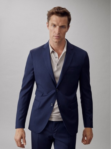 SLIM FIT NAVY SUPER 120'S WOOL TEXTURED WEAVE BLAZER