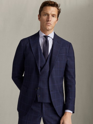 SLIM FIT NAVY CHECK 100% WOOL BLAZER