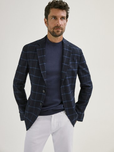 SLIM FIT NAVY WOOL CHECK BLAZER