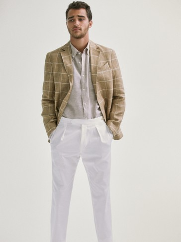 SMART LINEN WINDOWPANE CHECK BLAZER
