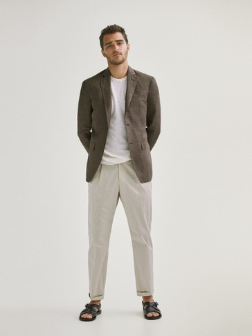 SMART LINEN HOUNDSTOOTH BLAZER