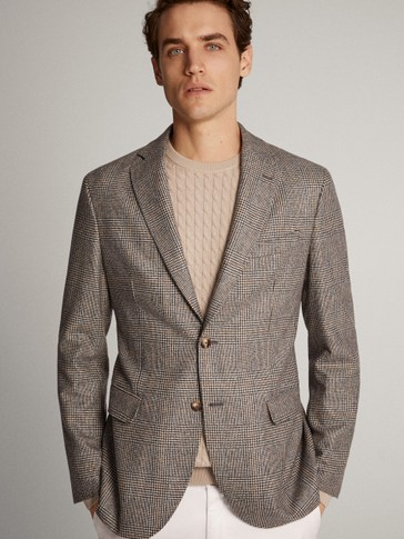 SLIM FIT CHECKED WOOL BLAZER