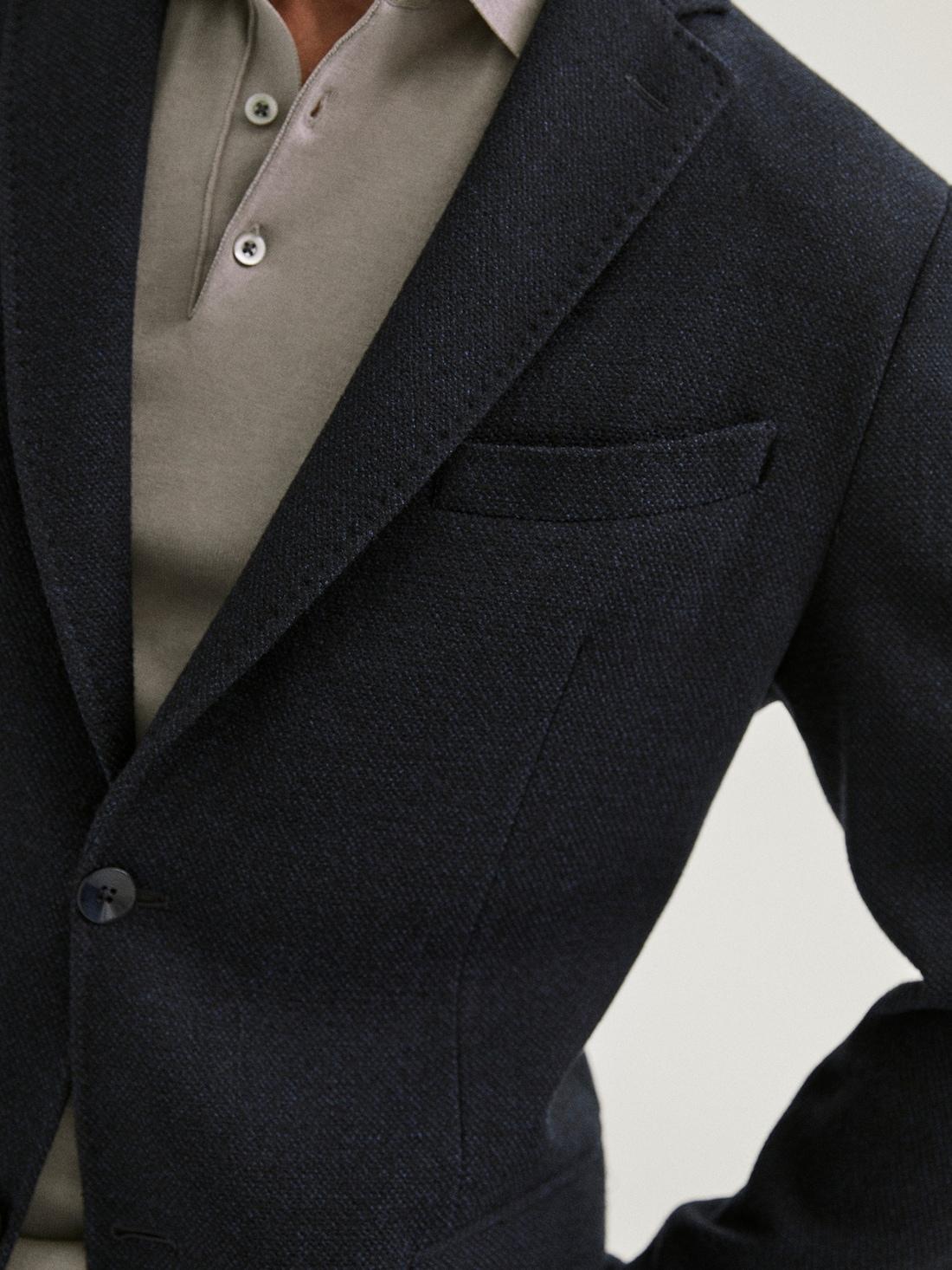 ШЕРСТЯНОЙ ТЕМНО-СИНИЙ ПИДЖАК ЗАУЖЕННОГО КРОЯ С ТЕКСТУРНЫМ УЗОРОМ Синий Massimo Dutti