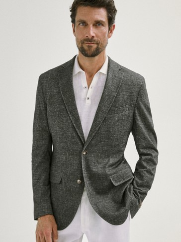 SLIM FIT COTTON BLAZER