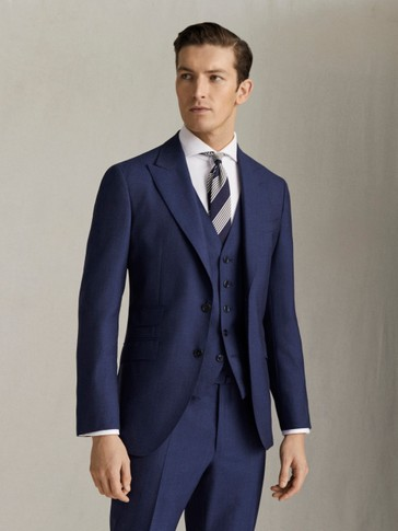 SLIM FIT TEXTURED HALF-CANVAS S.120'S WOOL BLAZER