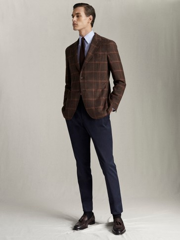 SLIM FIT CHECK NATURAL STRETCH S.130'S WOOL BLAZER