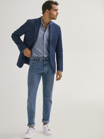 SLIM FIT CHECK COTTON AND LINEN BLAZER
