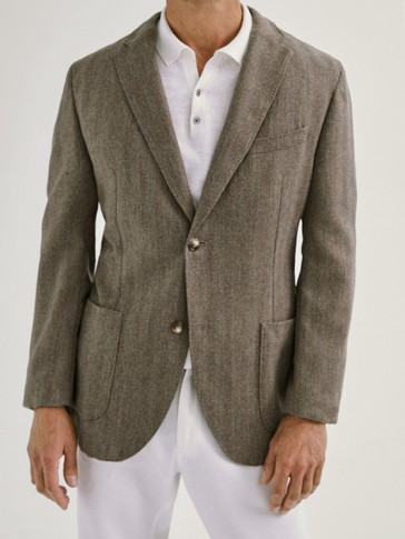 SLIM FIT HERRINGBONE WOOL CASHMERE BLAZER